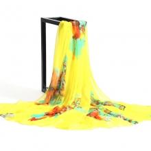 [ 195x145cm Grandi-dimensioni ] [ Fiori ] Sciarpa di seta di spiaggia sabbiosa, Scialle di protezione del sole dell'estate