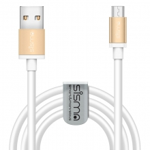 sisma ® Micro USB Cable 6ft (1.83m) High Speed 2.0 A to Micro B Sync & Charging Cable + 1pc Cord Manager for Samsung, Nexus, HTC, LG, Blackberry, Android Smartphones and More GOLD/WHITE