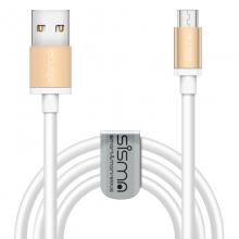 sisma ® Micro-USB til USB-A mandlig 1,83m Opladning og Synkronisering Kabel til Android/Windows telefon, Tabletter, Digitalt kamera, PSvita, PS4 Gamepad (GULD+HVID)