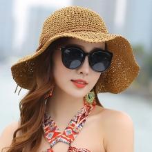 Solhat stråhat til Kvinder [ Naturlig papyrus ] Bredskygget hat
