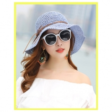 Summer Beach Straw Hat Wide-brimmed Sun Foldable Hat for Lady Women